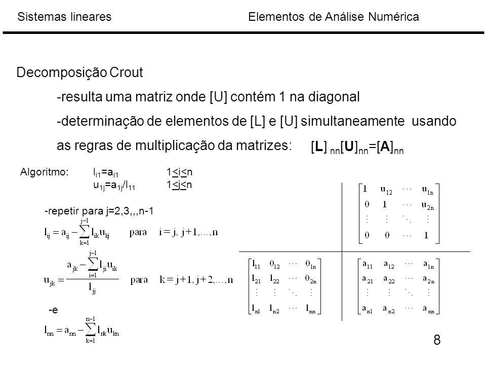 -resulta uma matriz onde [U] contém 1 na diagonal